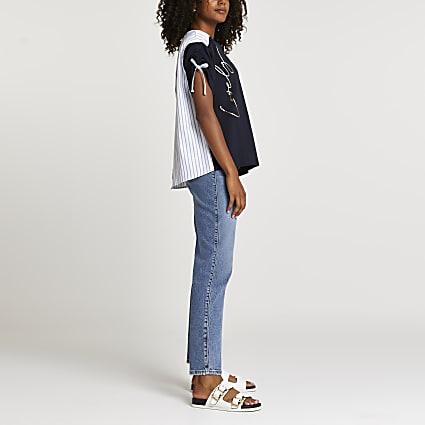 Navy Lovely Stripe print t-shirt