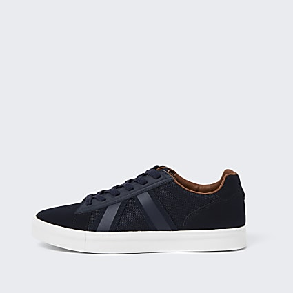 Navy mesh detail trainers