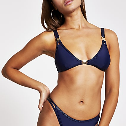 Navy metallic spot trim triangle bikini top