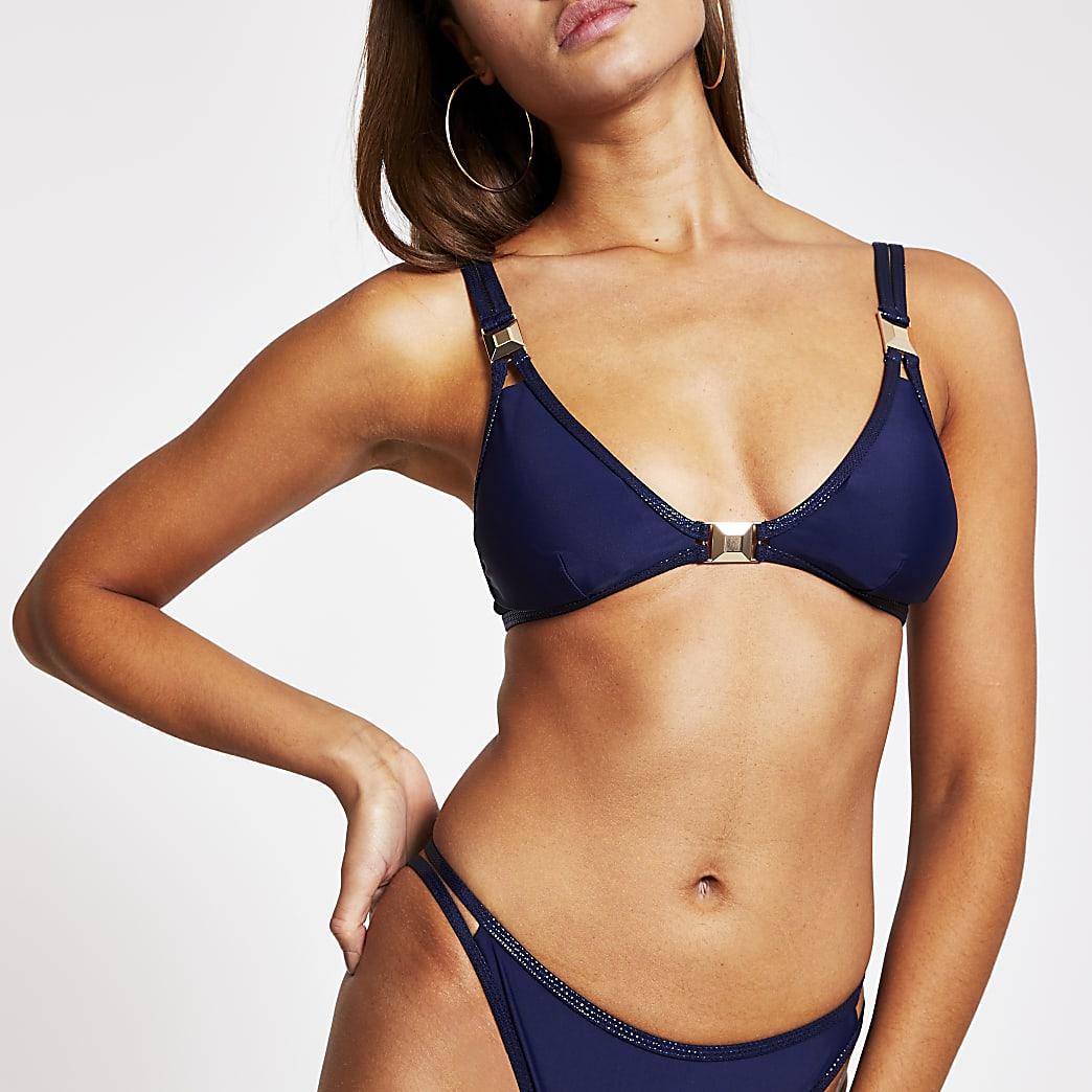 Navy metallic spot trim triangle bikini top