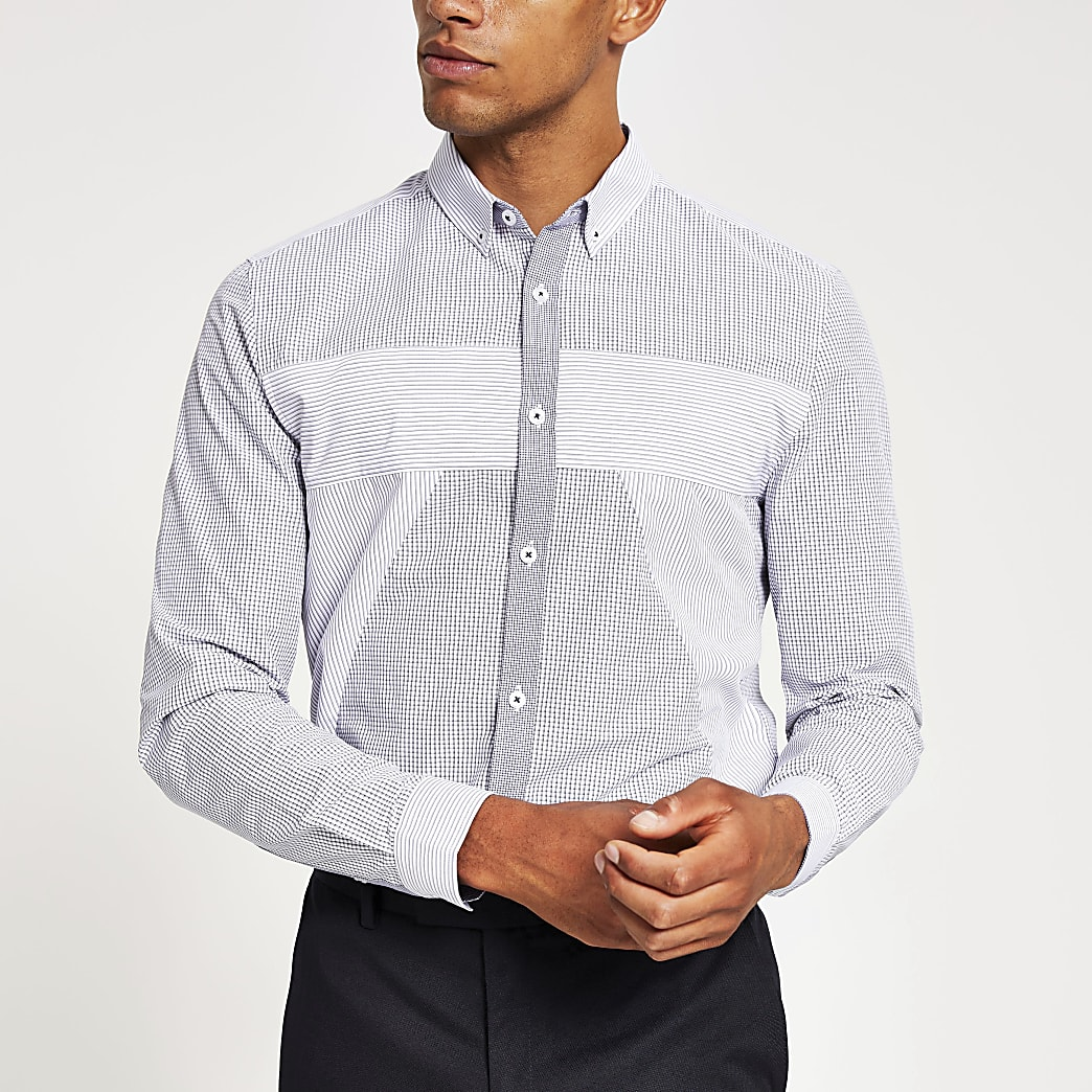 Marineblauw slim-fit overhemd met kleurvlakken