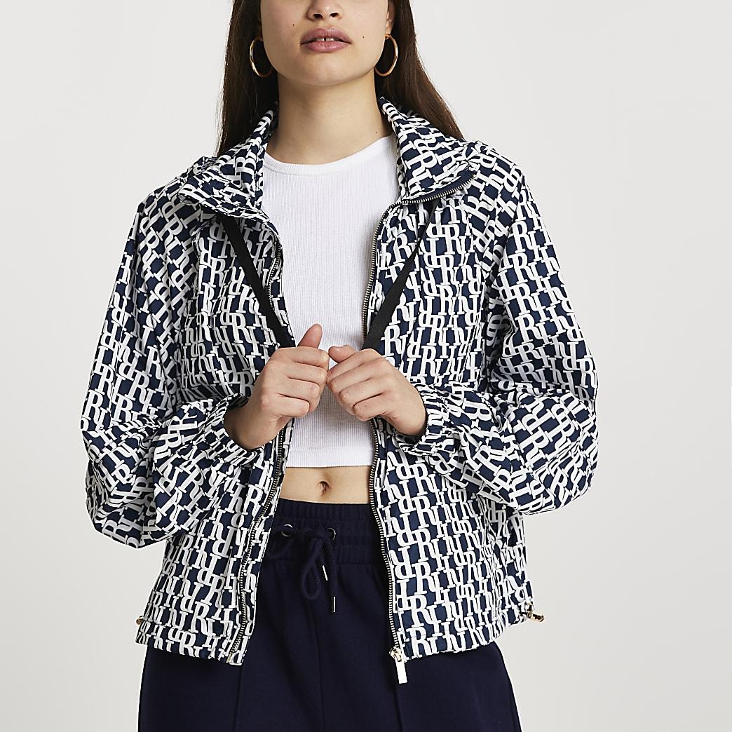 Navy monogram windbreaker jacket