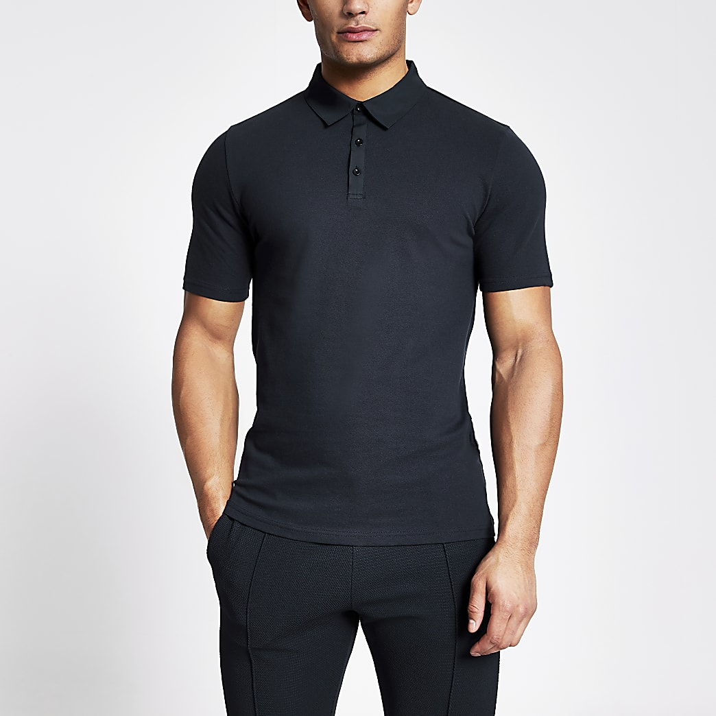 Navy muscle fit contrast collar polo shirt