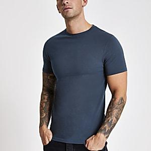 Marineblauw aansluitend T-shirt met ronde hals