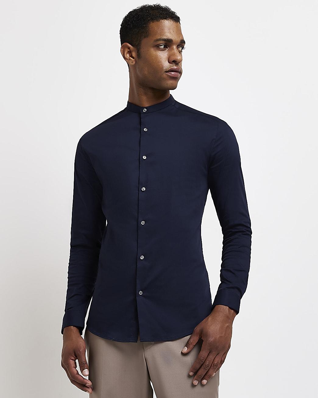 Navy muscle fit grandad long sleeve shirt