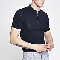 Navy muscle fit half zip knitted polo shirt