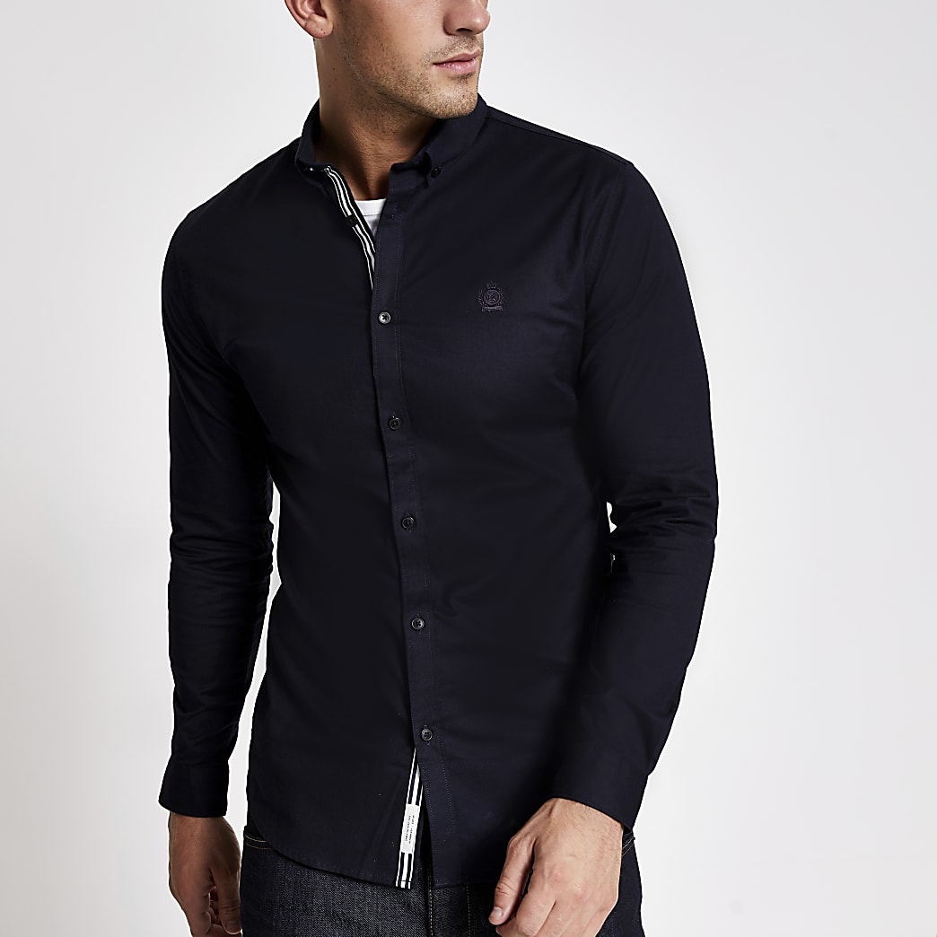 Navy muscle fit long sleeve Oxford shirt