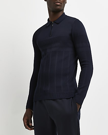 Navy muscle fit rib long sleeve polo shirt