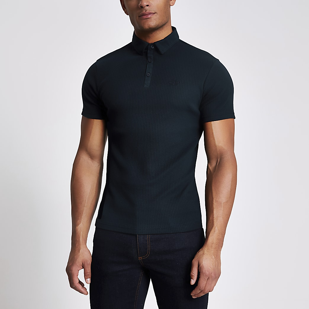 Navy muscle fit ribbed polo top
