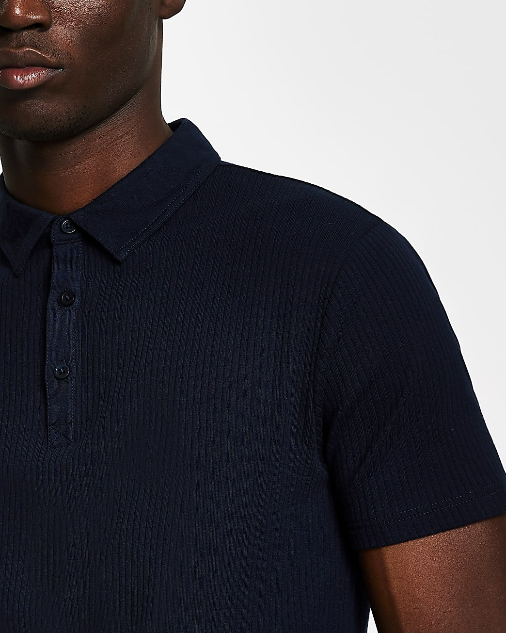 Navy muscle fit short sleeve polo shirt
