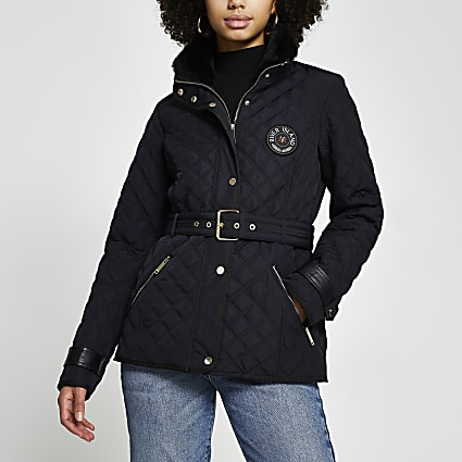 Navy nylon quilted padded jacket