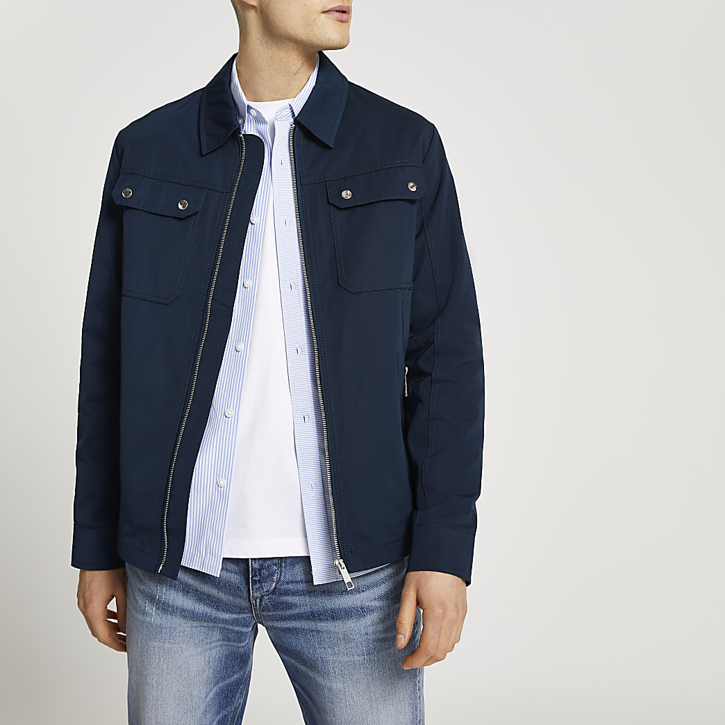 Navy nylon zip up shacket