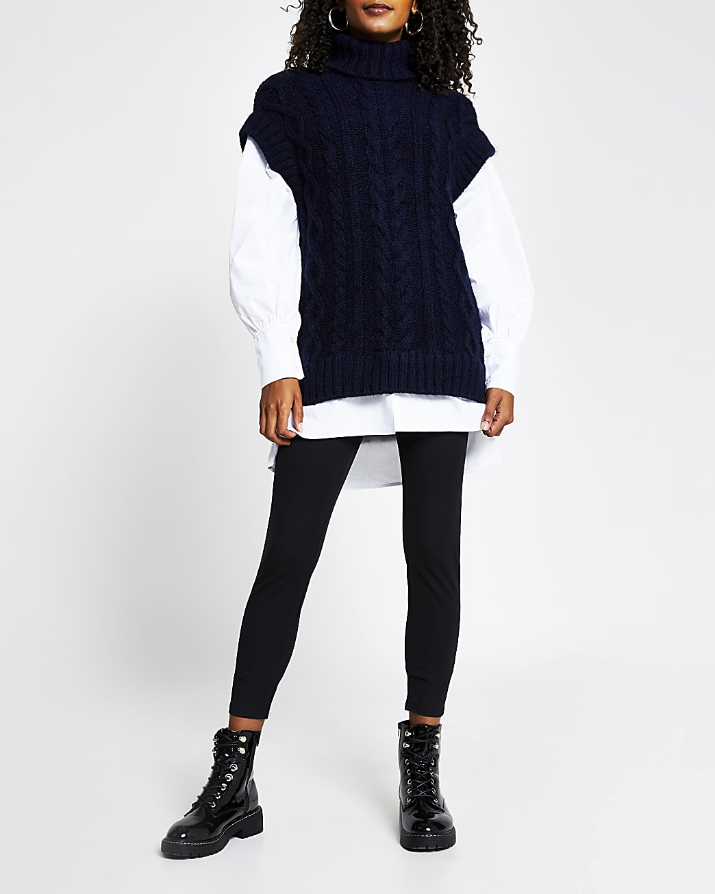 Navy oversized cable knit tunic top
