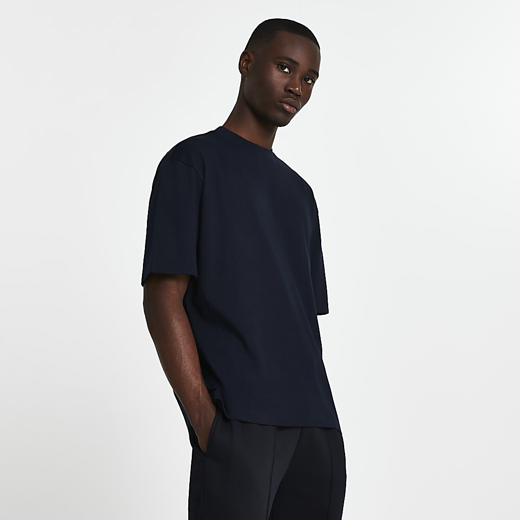 Navy oversized short sleeve t-shirt