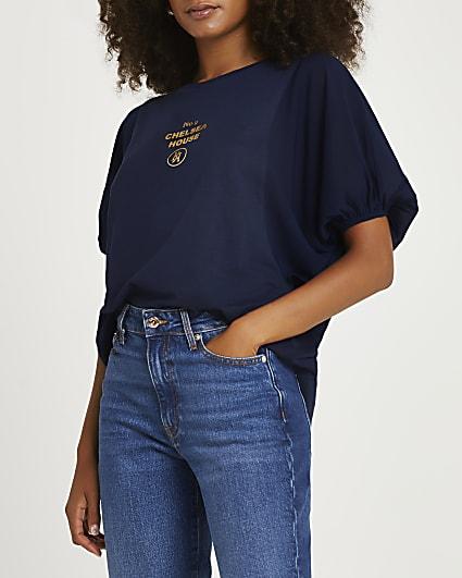 Navy oversized sleeve graphic t-shirt