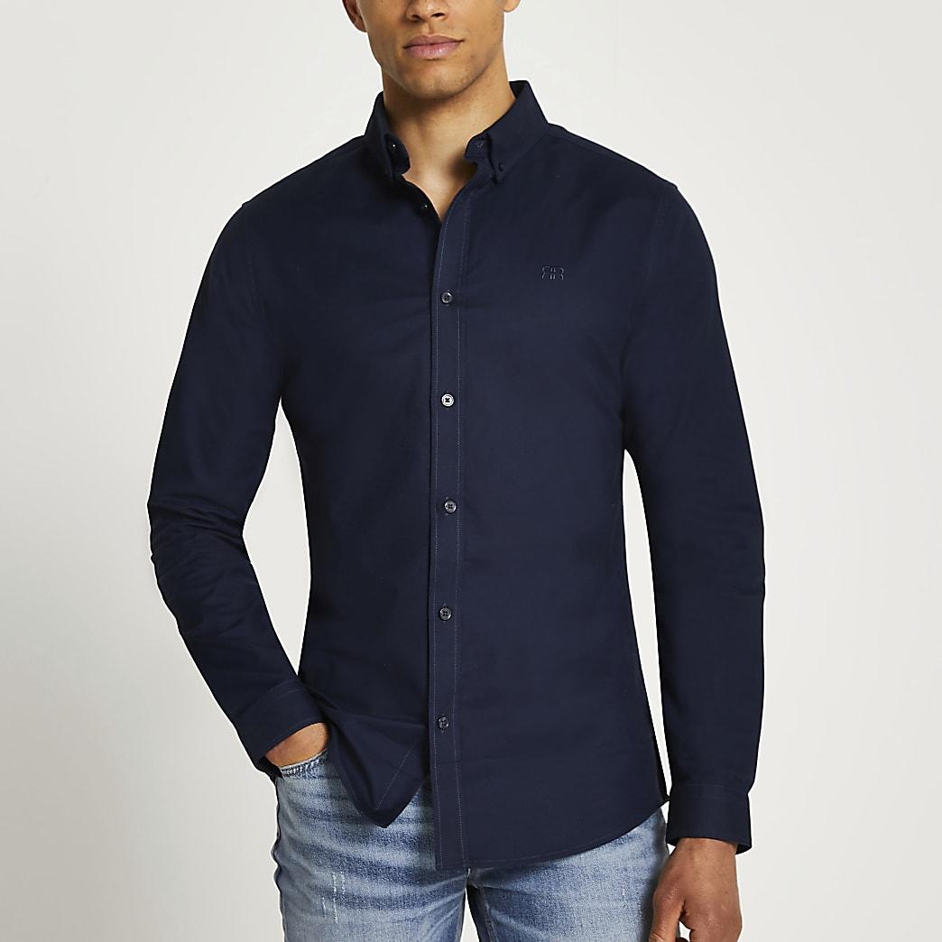 Navy Oxford slim fit long sleeve shirt