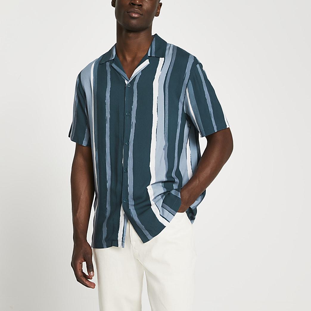 Navy paint stripe slim fit revere shirt