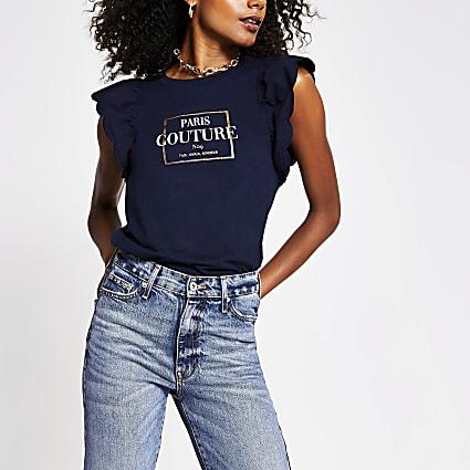 Navy 'Paris couture' print frill t-shirt