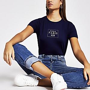 Navy 'Paris' easy fit T-shirt