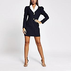 Mini-robe style smokingavec manches longuesà rayures fines bleu marine