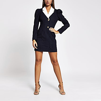 Navy pinstripe long sleeve tux mini dress