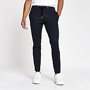 Navy pinstripe smart skinny fit joggers