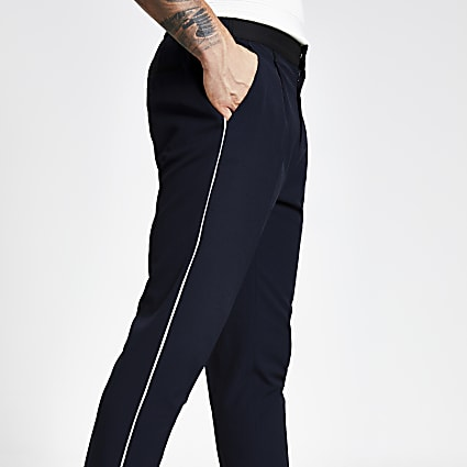 Navy pleated skinny tapered fit trousers