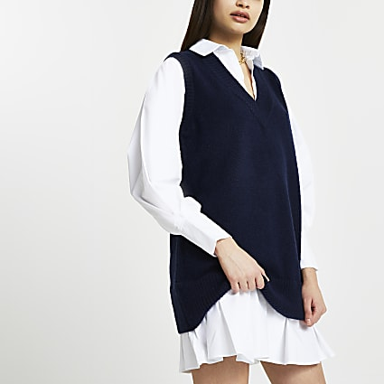 Navy poplin tabard dress