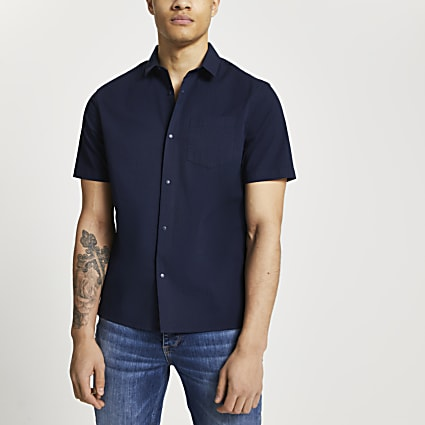Navy popper fastening slim fit shirt