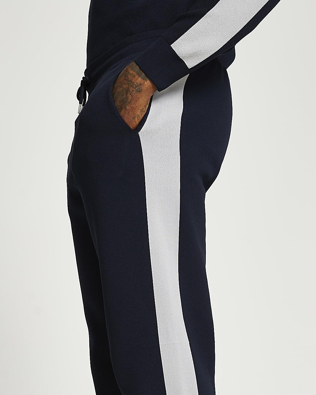 Navy premium taped joggers