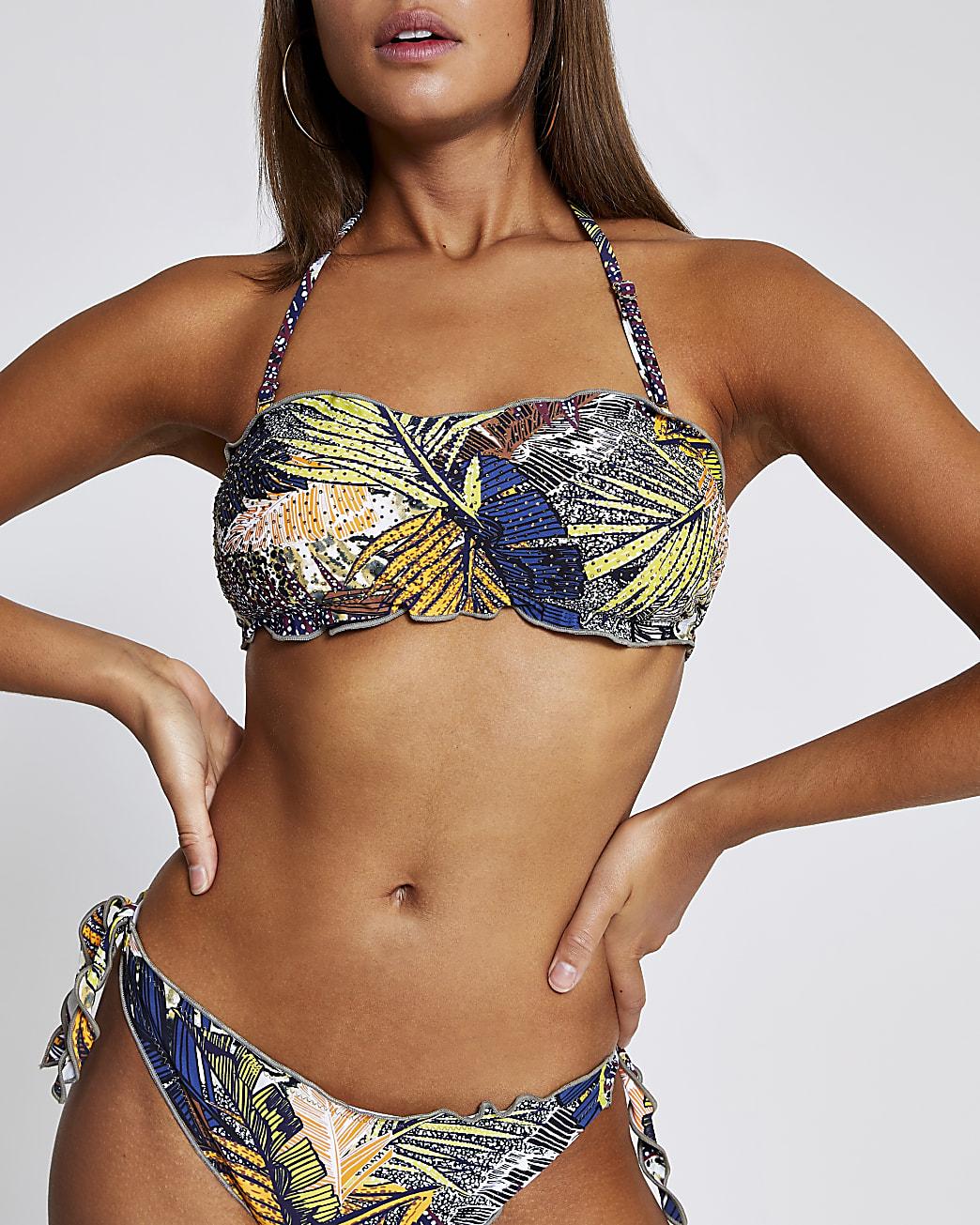 Navy printed diamante bandeau bikini top