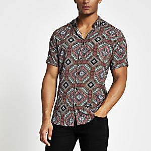 Marineblaues, kurzärmeliges Slim Fit Hemd mit Print
