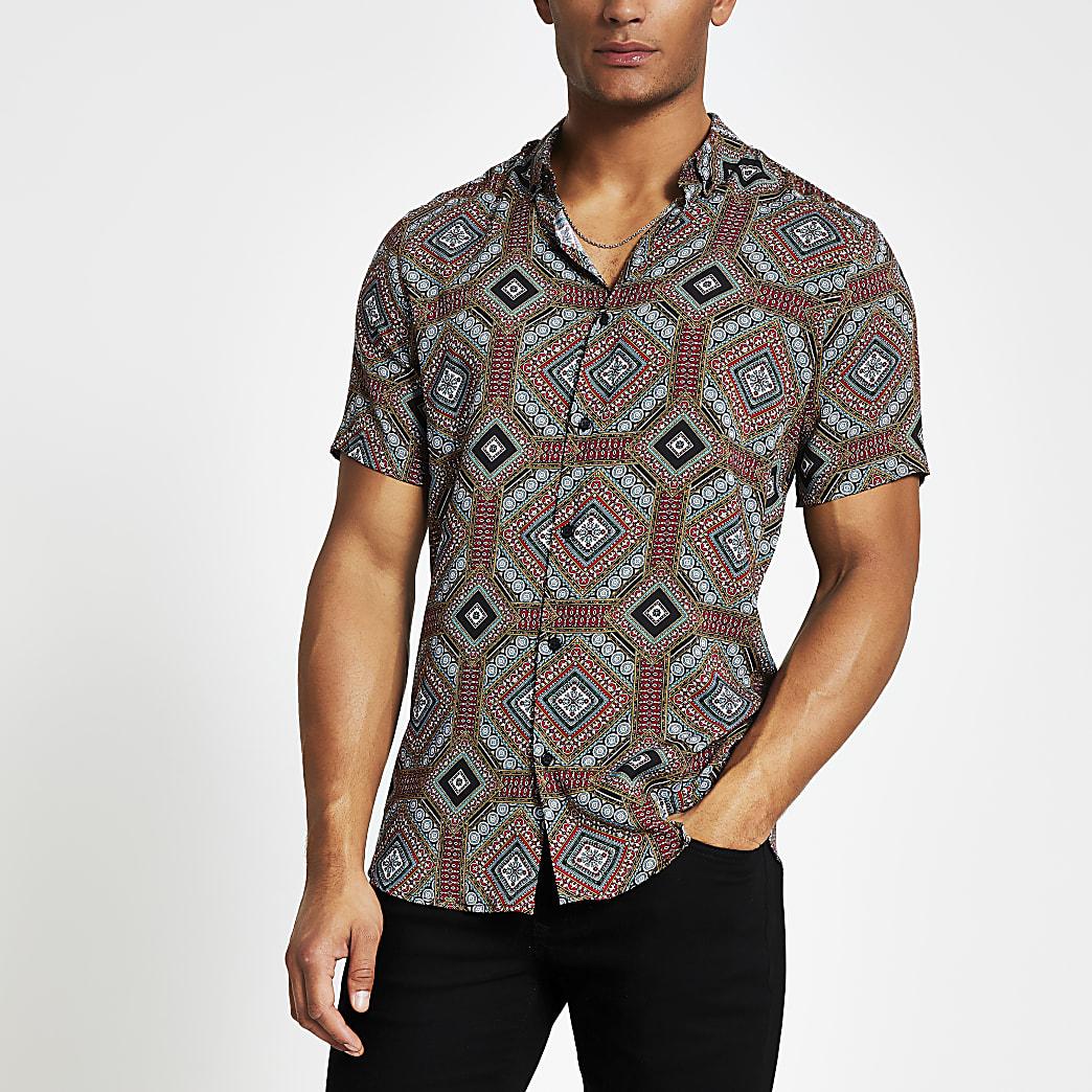 Marineblauw slim-fitoverhemd met print en korte mouwen