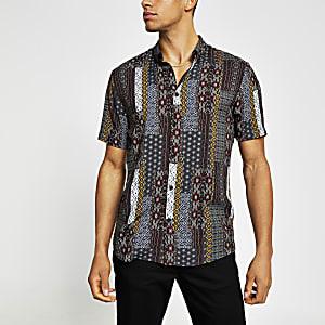 Marineblauw slim-fit overhemd met print en korte mouwen