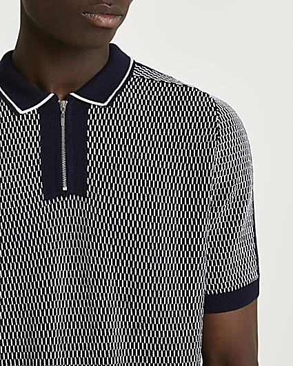 Navy printed zip detail polo shirt