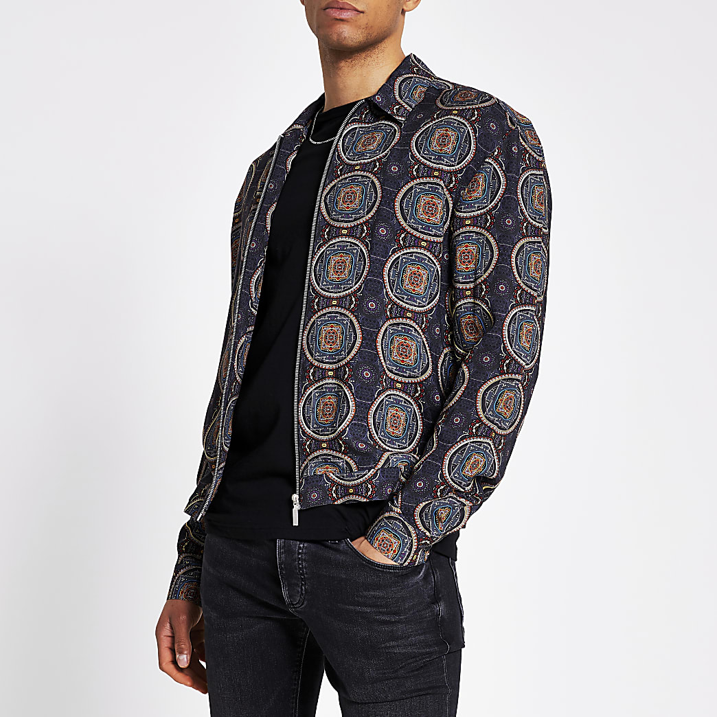 Navy printed zip front long sleeve overshirt