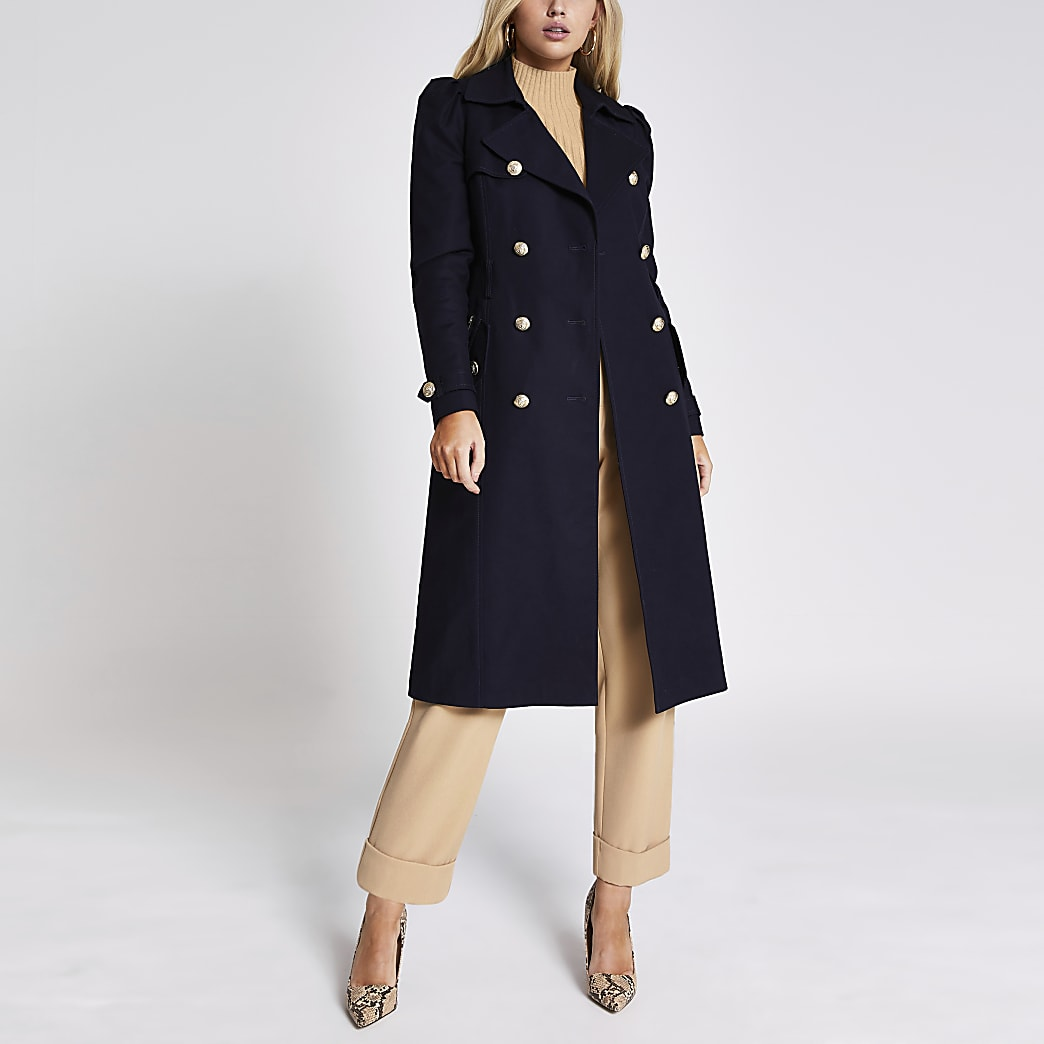 Navy puff sleeve double breasted trench coat