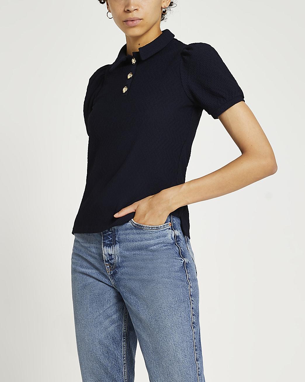 Navy puff sleeve textured polo shirt