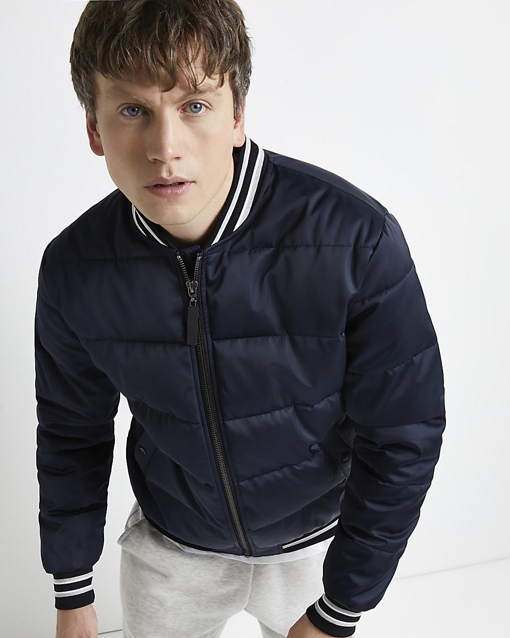 Navy puffer bomber jacket