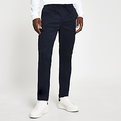 Navy pull on twill skinny fit cargo trousers