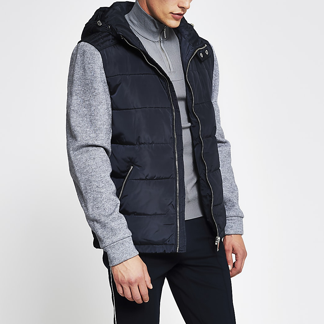 Navy quilted body knit sleeve coat