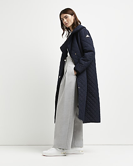 Navy quilted longline coat