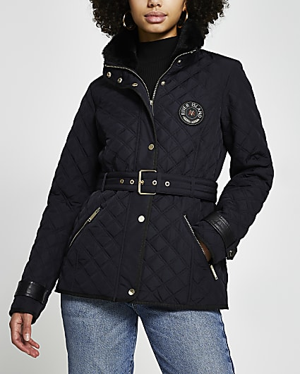 Navy quilted padded belted jacket