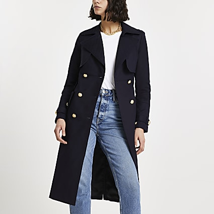 Navy quilted trench coat