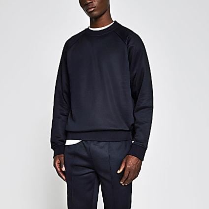 Navy raglan slim fit sweatshirt