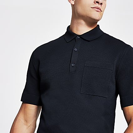 Navy regular fit knitted polo shirt