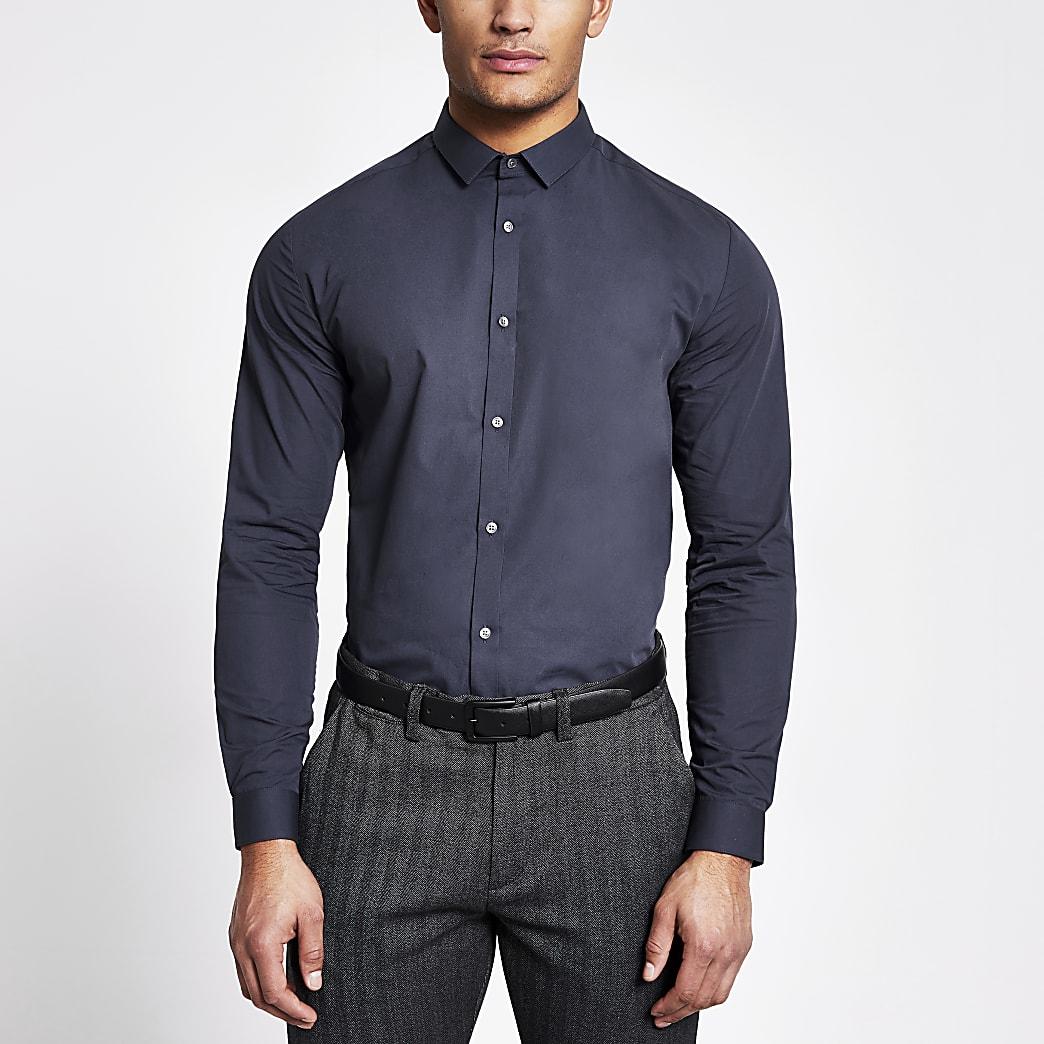 Navy regular fit long sleeve shirt