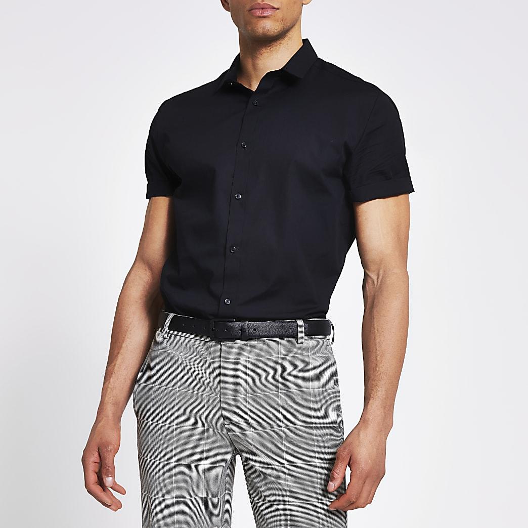 Navy regular fit short sleeve shirt