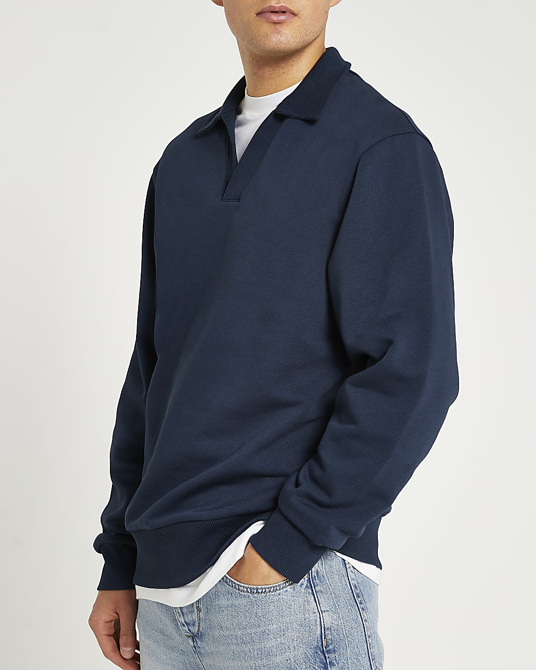Navy regular fit v neck collared sweatshirt