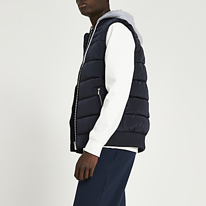 Navy removable hood gilet
